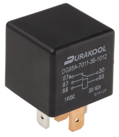 Durakool , 12V dc Coil Non-Latching Relay SPDT, 40A Switching Current Plug In Single Pole