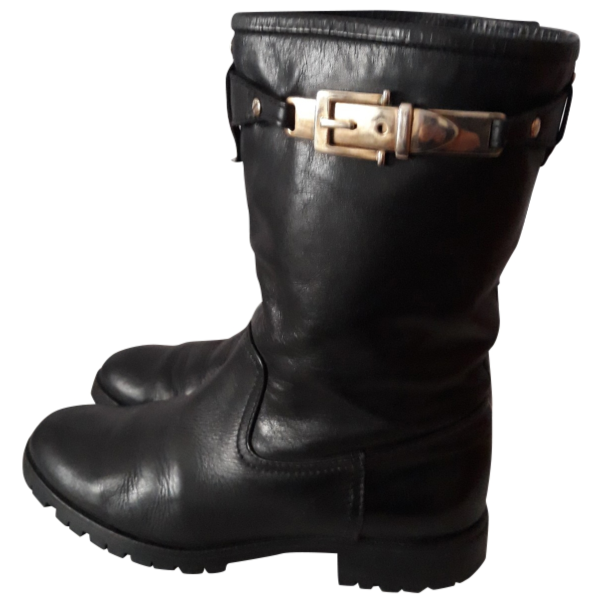 Massimo Dutti - Boots   pour femme en cuir - noir