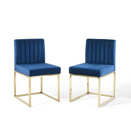 Carriage Collection EEI-4507-GLD-NAV Set of 2 Dining Chairs with Gold Stainless Steel Frame  Sled Base  Dense Foam Padding and Velvet Polyester