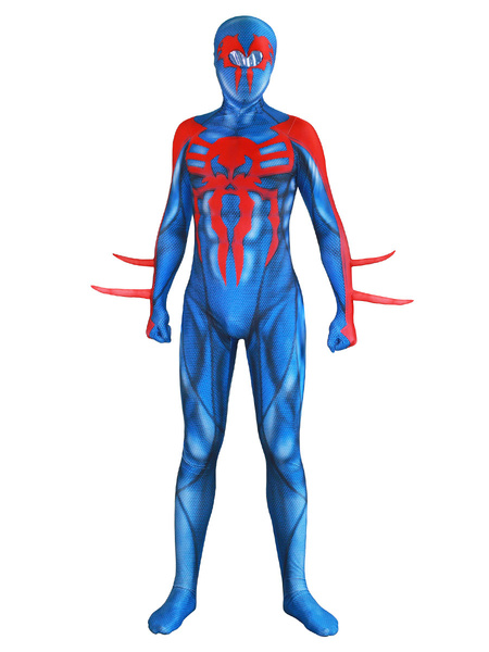 Milanoo Marvel Comics Spider Man Cosplay 2099 New Era Spider Man Blue Lycra Spandex Jumpsuit Leotard Marvel Comics Cosplay