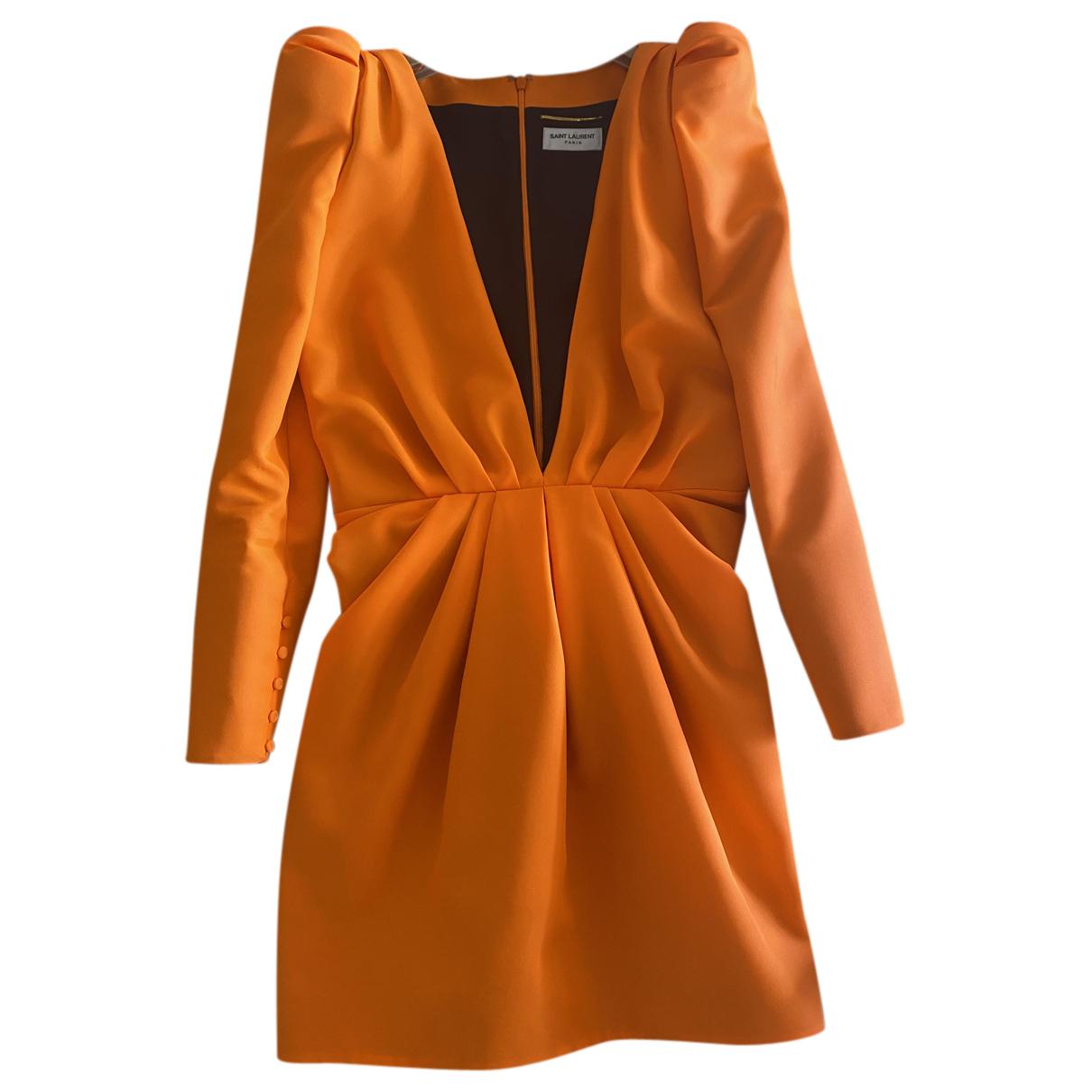 Saint Laurent \N Kleid in  Orange Synthetik