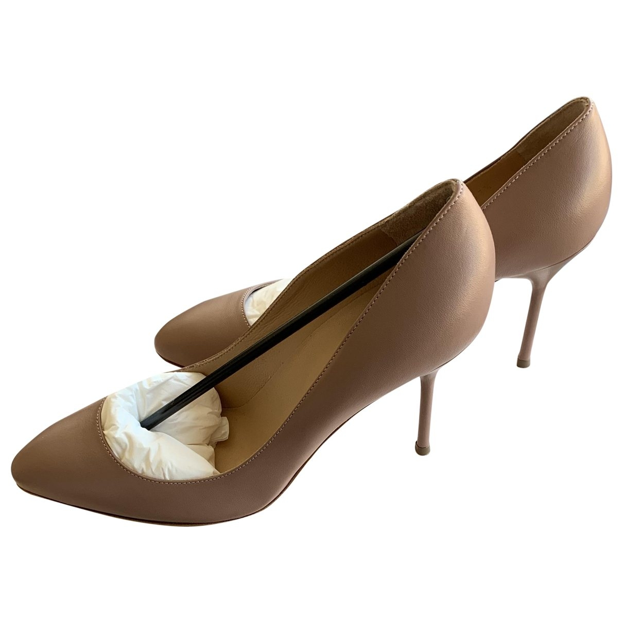 Sergio Rossi \N Beige Leather Heels for Women 37.5 EU