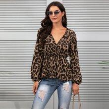 Bluse mit Leopard Muster, V Ausschnitt vorn und Schosschen