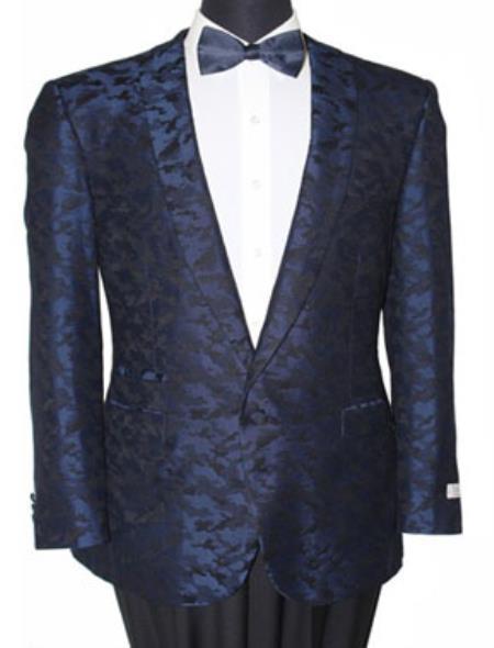 Men's Tazio Slim Fit Notch Lapel Blazer Sport Jacket Blue