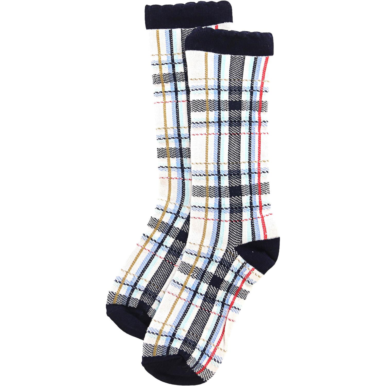 Janie And Jack White / Blue Multi Plaid Sock Casual & Dress - 6-8