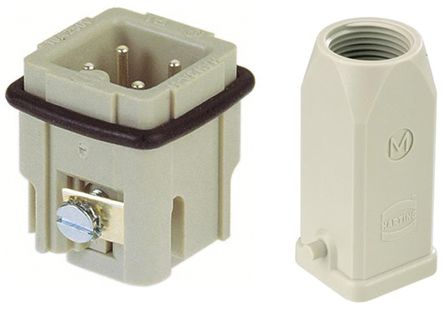 HARTING Heavy Duty Power Connector, Han A 3 Way Male 10A Panel Feed Through Set, includes Hood, Insert