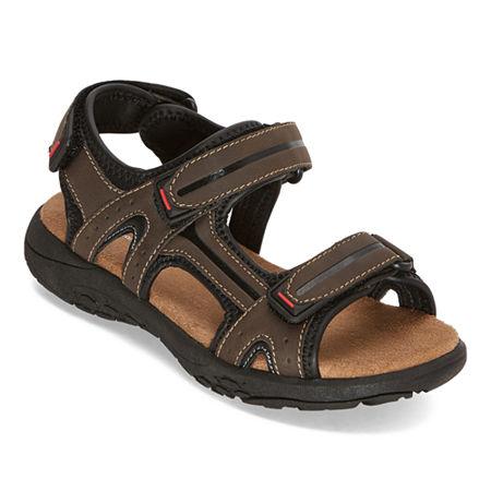 Arizona Boys Badger Jr. Adjustable Strap Flat Sandals, 4 Medium, Brown