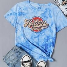 Camisetas Tie-Dye Azul Casual