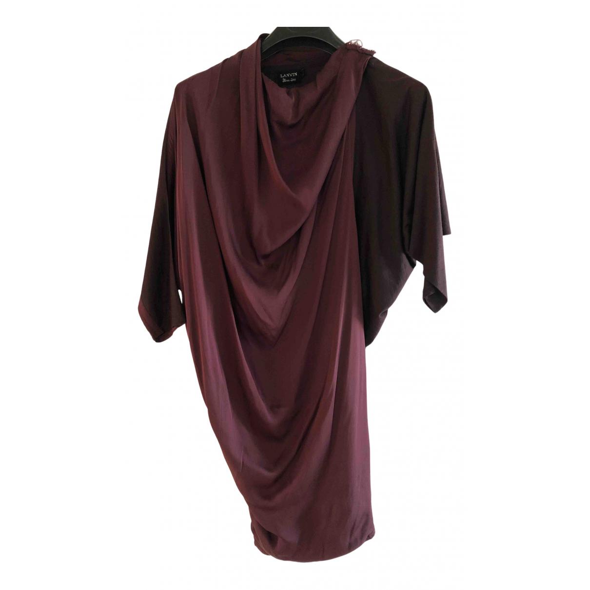 Lanvin \N Kleid in  Bordeauxrot Seide