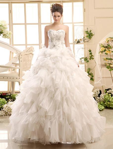 Milanoo Ball Gown Neck Applique Tulle Floor-Length Ivory Wedding Dress