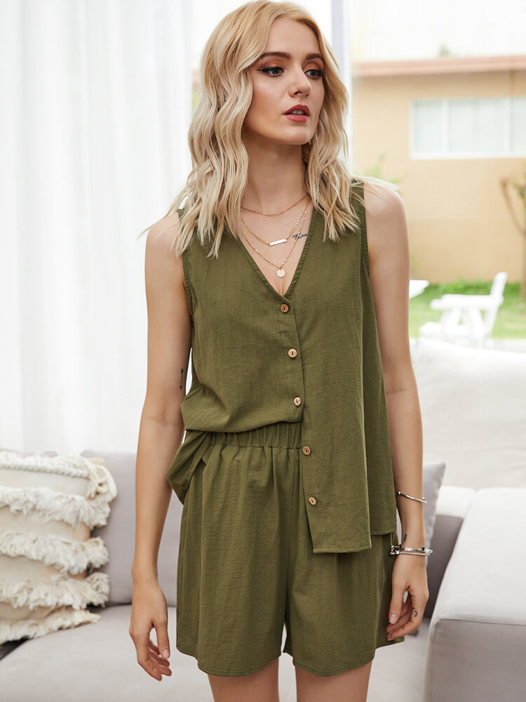 Solid Color Button V-neck Sleeveless Tops+Shorts Casual Clothing Set