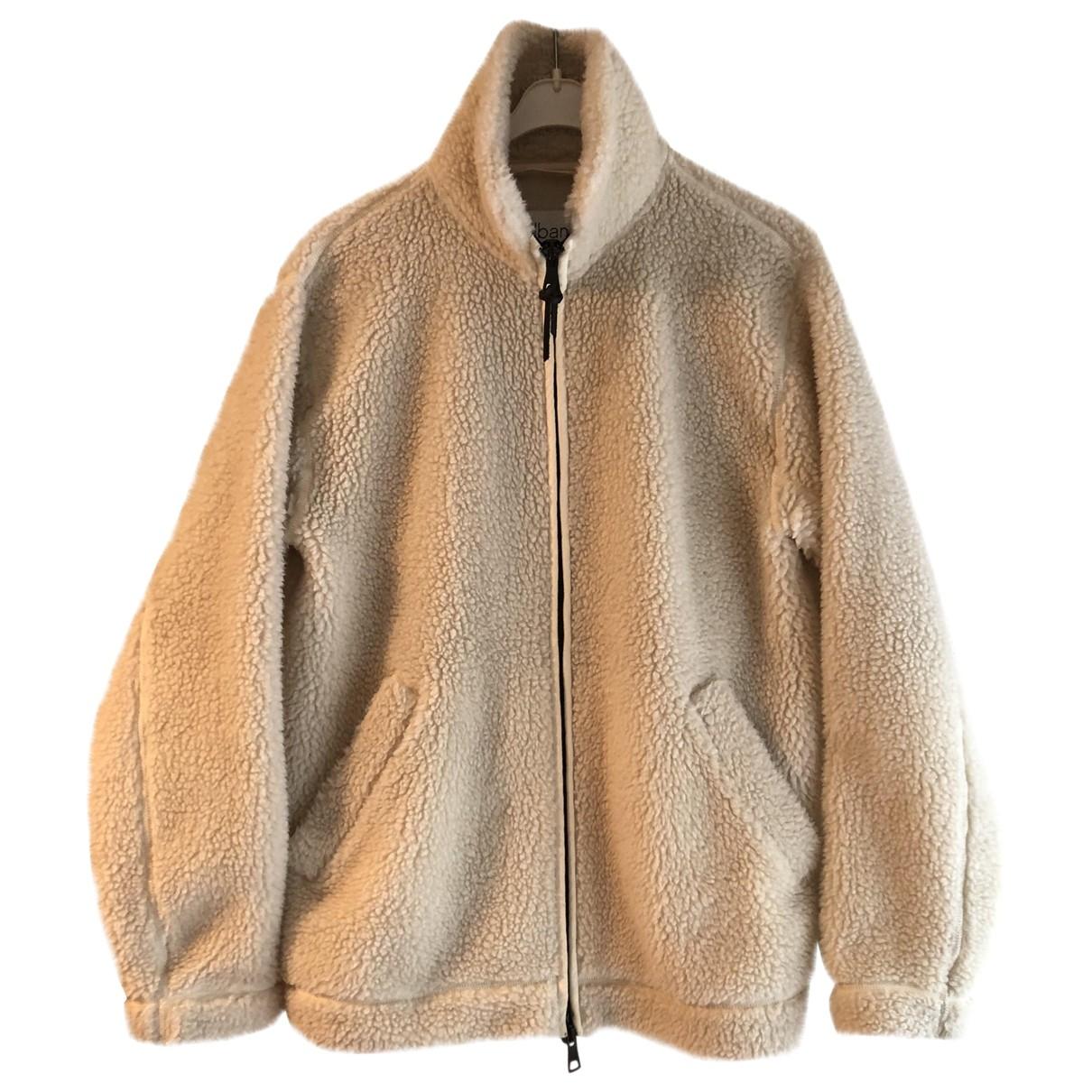 Non Signe / Unsigned Oversize Jacke in  Ecru Synthetikpelz