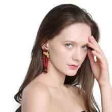 Beaded Bird Tassel Earrings