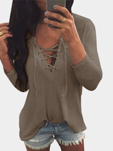 Yoins V Neck Lace Up Front Loose T-shirt in Khaki