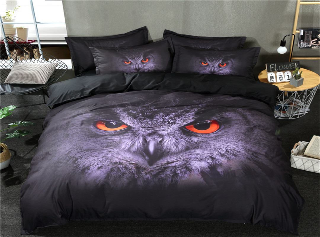 3D Owl Printed Polyester 3-Piece Dark Gray Bedding Sets/Duvet Covers