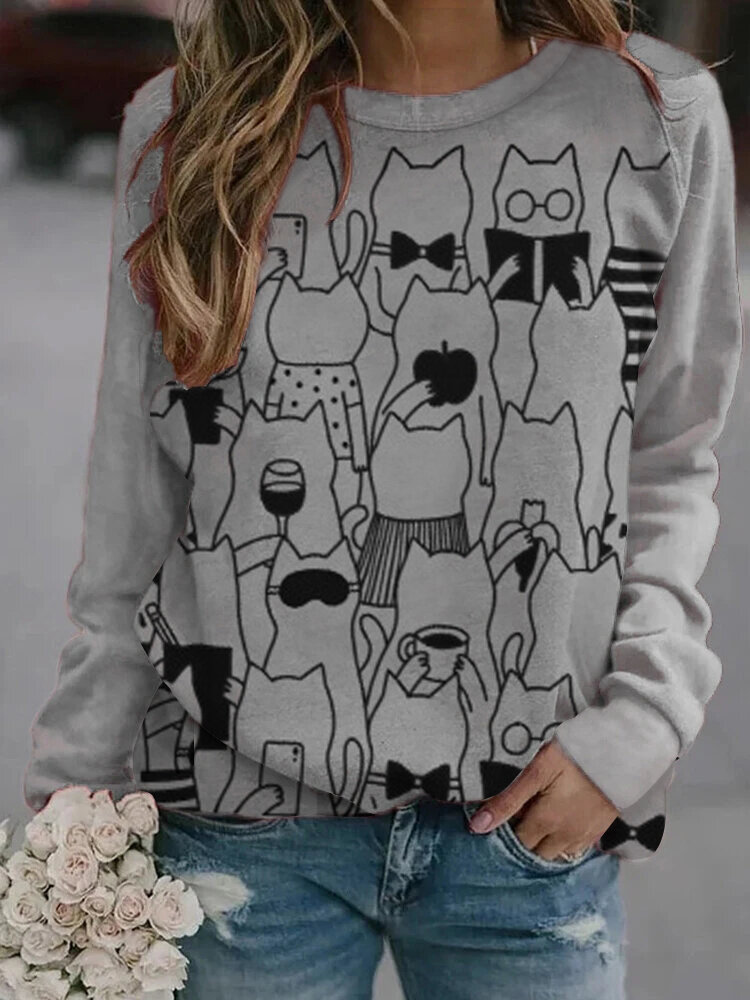 Cartoon Cats Print Long Sleeve O-neck Casual Sweatshirt For Women