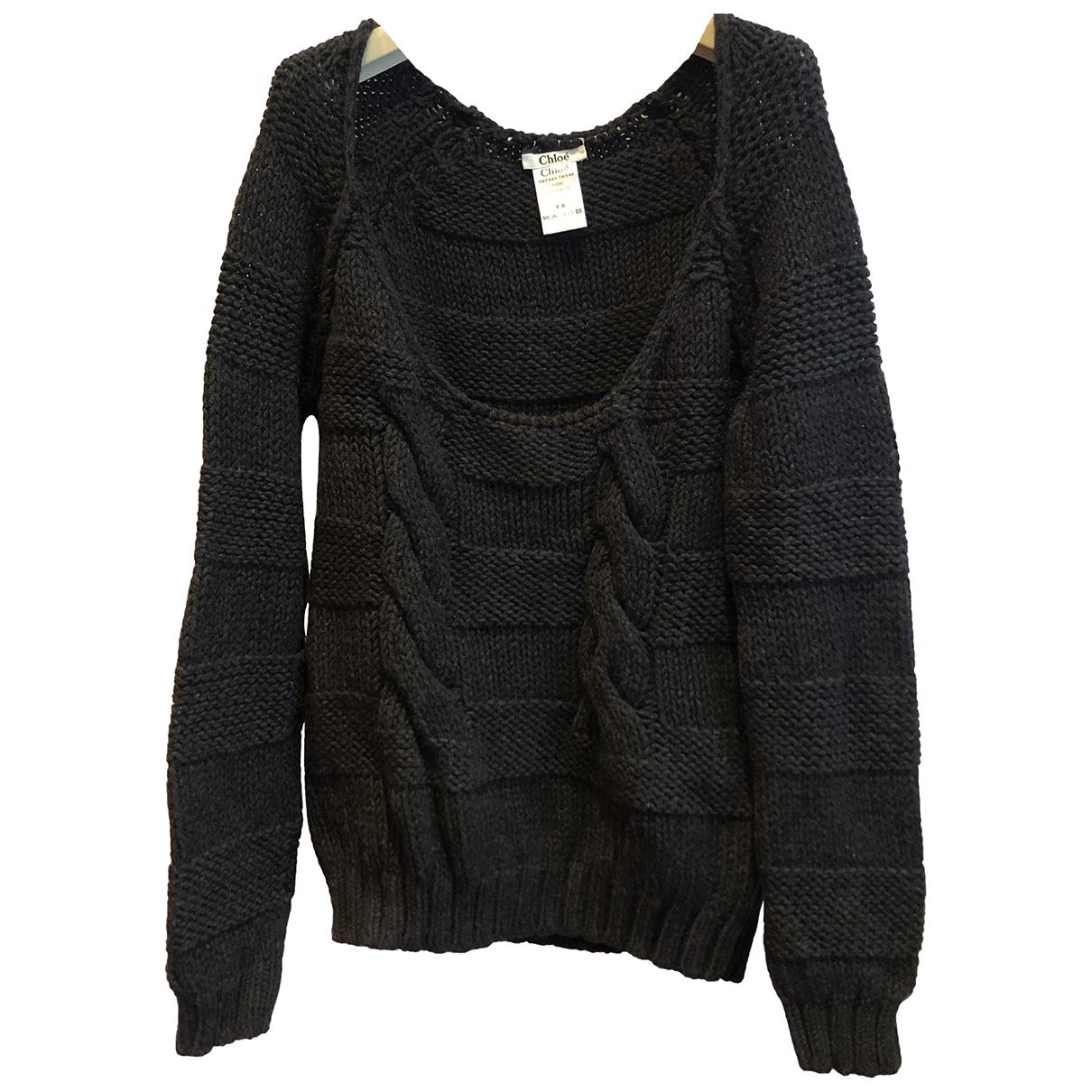 Chloe - Pull   pour femme en laine - noir