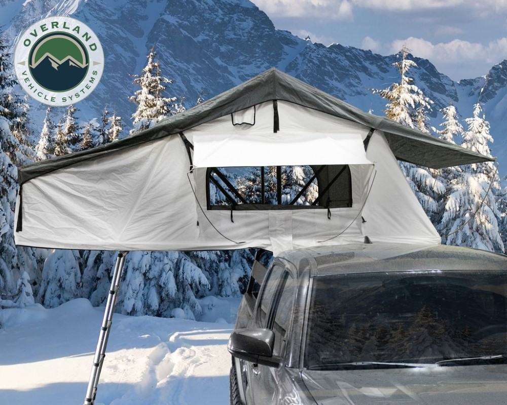 Overland Vehicle System 18031926s Roof Top Tent Extended 3 Person Roof Top Tent With Annex White/Dark Gray Rain Fly Black Cover Nomadic Arctic