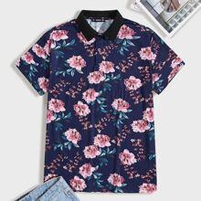 Camisa polo de hombres con estampado floral de cuello en contraste