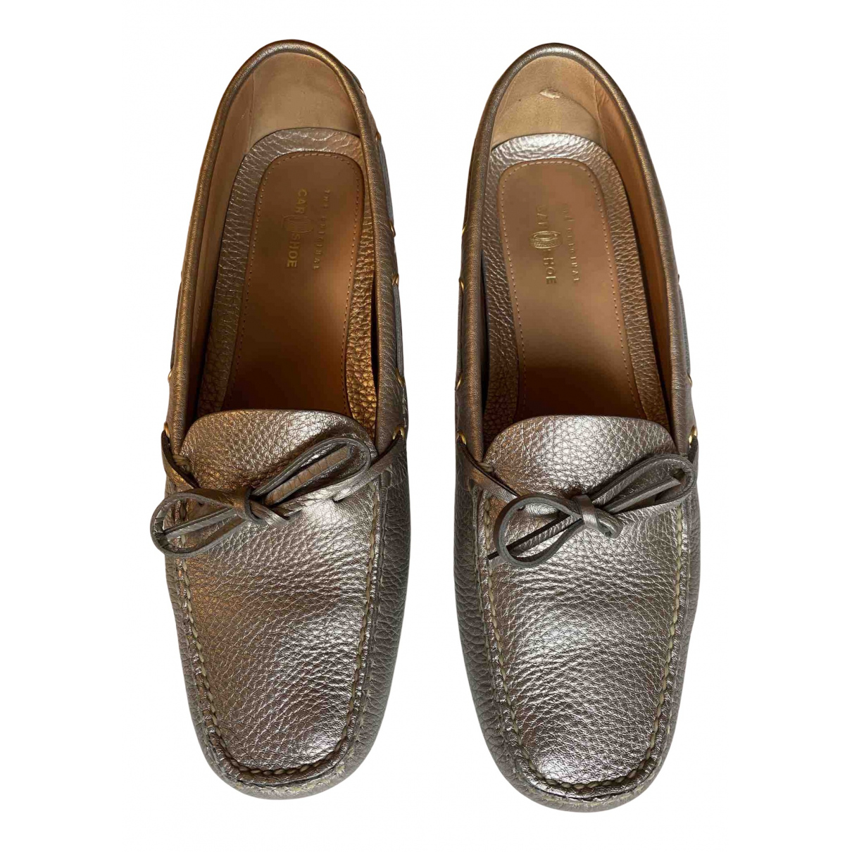 Carshoe N Silver Leather Flats for Women 40 EU