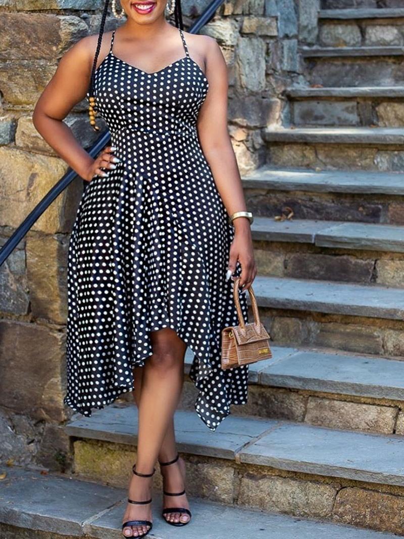 Ericdress Mid-Calf Sleeveless Asymmetric Date Night/Going Out Polka Dots Dress
