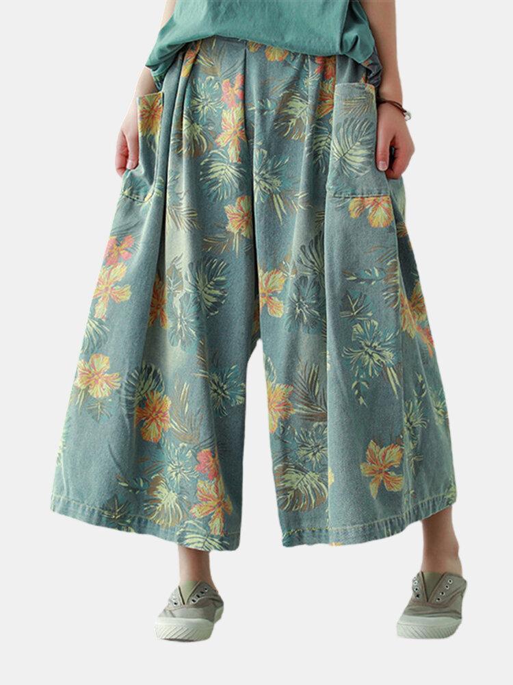 Printing Denim Cotton Loose Wide-leg Pants Wieh Pocket
