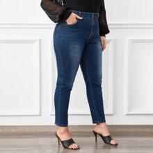 Schmale Jeans mit hoher Taille ohne Guertel
