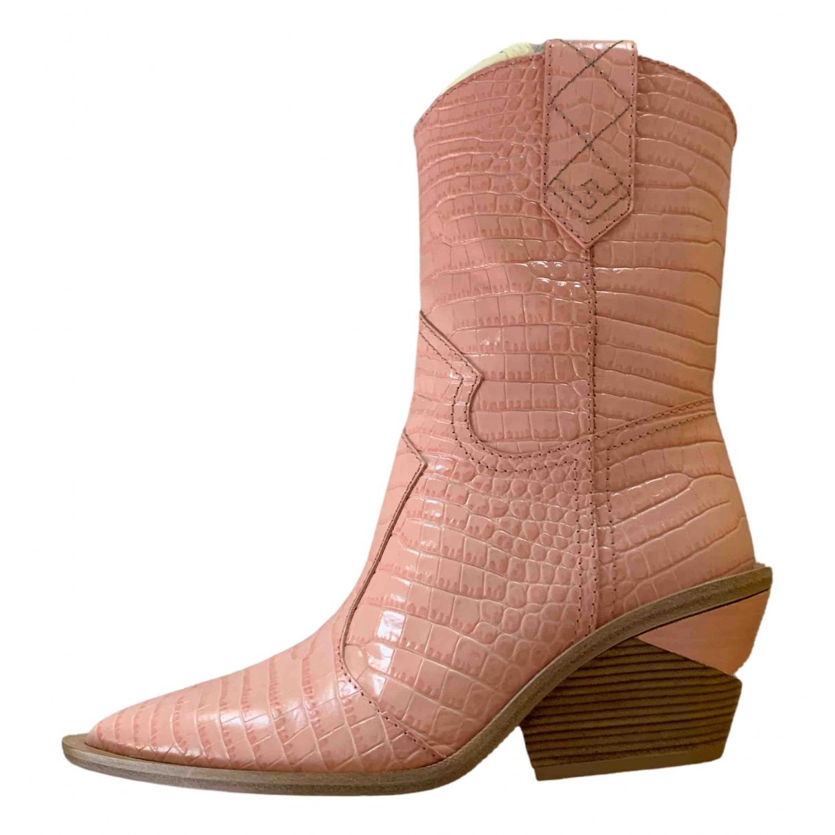 Fendi - Bottes Cowboy pour femme en cuir - rose
