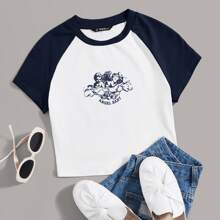 Letter and Angel Print Raglan Sleeve Tee