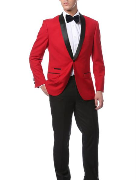 Mens Slim Fit 1 Button Shawl Collar Dinner Jacket Blazer