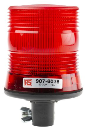 RS PRO Red LED Beacon, 10 → 30 V dc, Flashing, DIN Rail