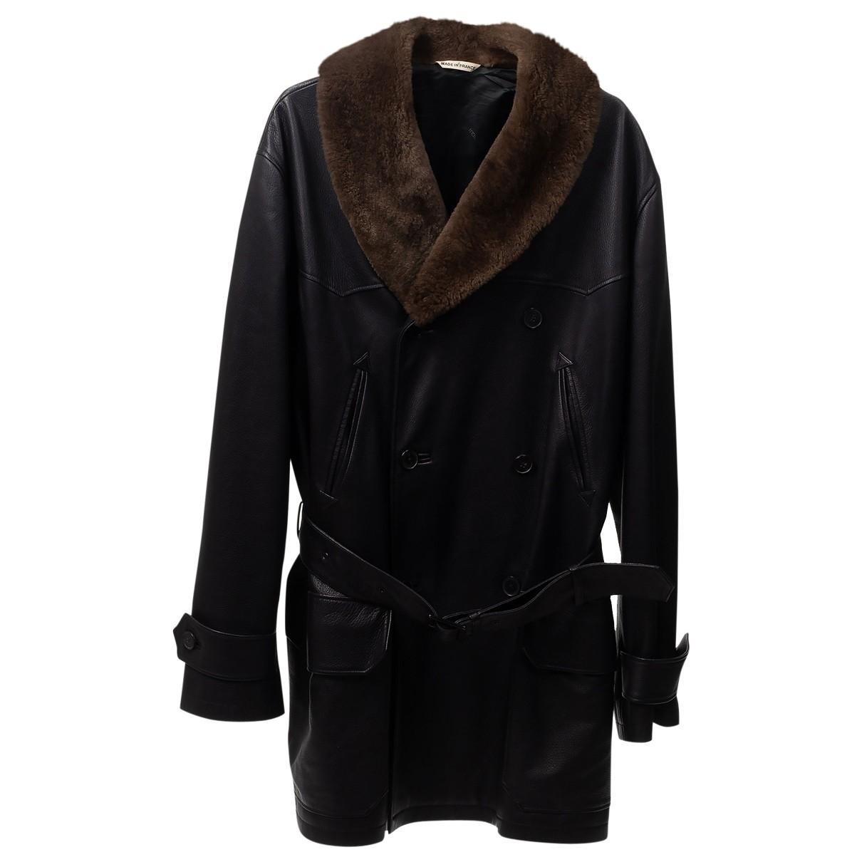Hermes - Manteau   pour homme en cuir - noir