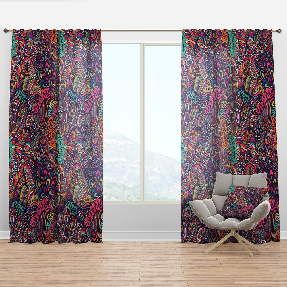 Designart 'Texture with Abstract Flowers' Bohemian & Eclectic Curtain Panel (50 in. wide x 95 in. high - 1 Panel)