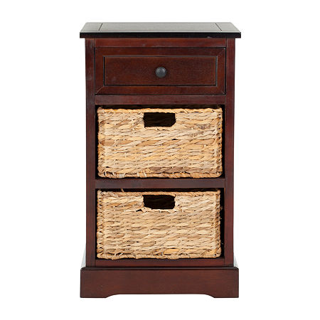 Carie 3-Drawer Storage End Table, One Size , Brown