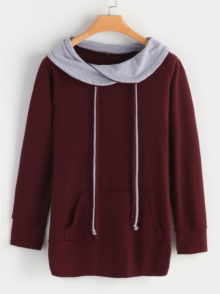 Yoins Burgundy Drape Sagging Long Sleeves T-shirts With Kangaroo Pockets