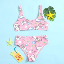 Girls Cartoon Unicorn Print Bikini Swimsuit