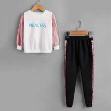 Sweatshirt und Jogginghose mit Kontrast Netzstoff und Buchstaben Grafik