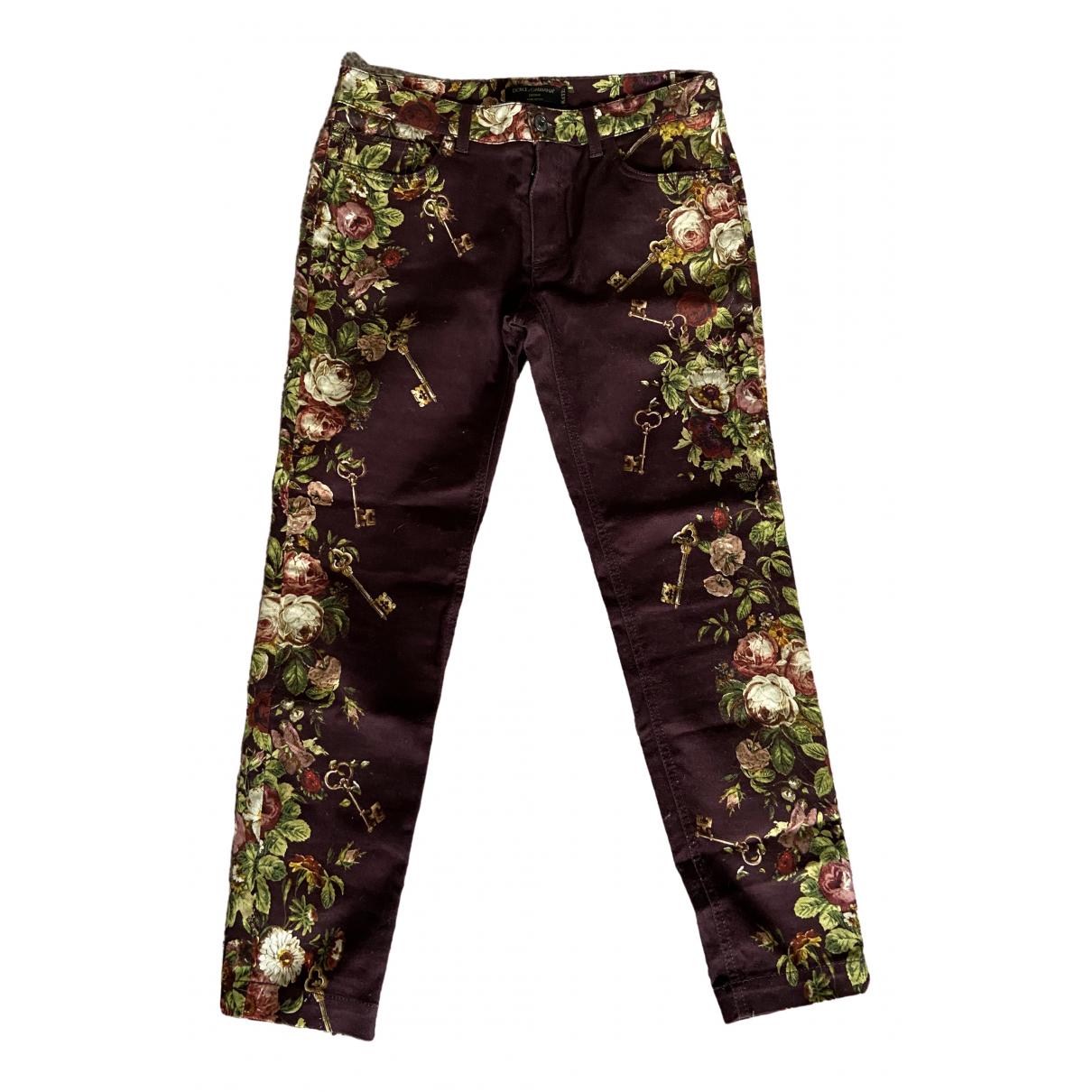 Dolce & Gabbana \N Purple Cotton - elasthane Jeans for Women 38 FR
