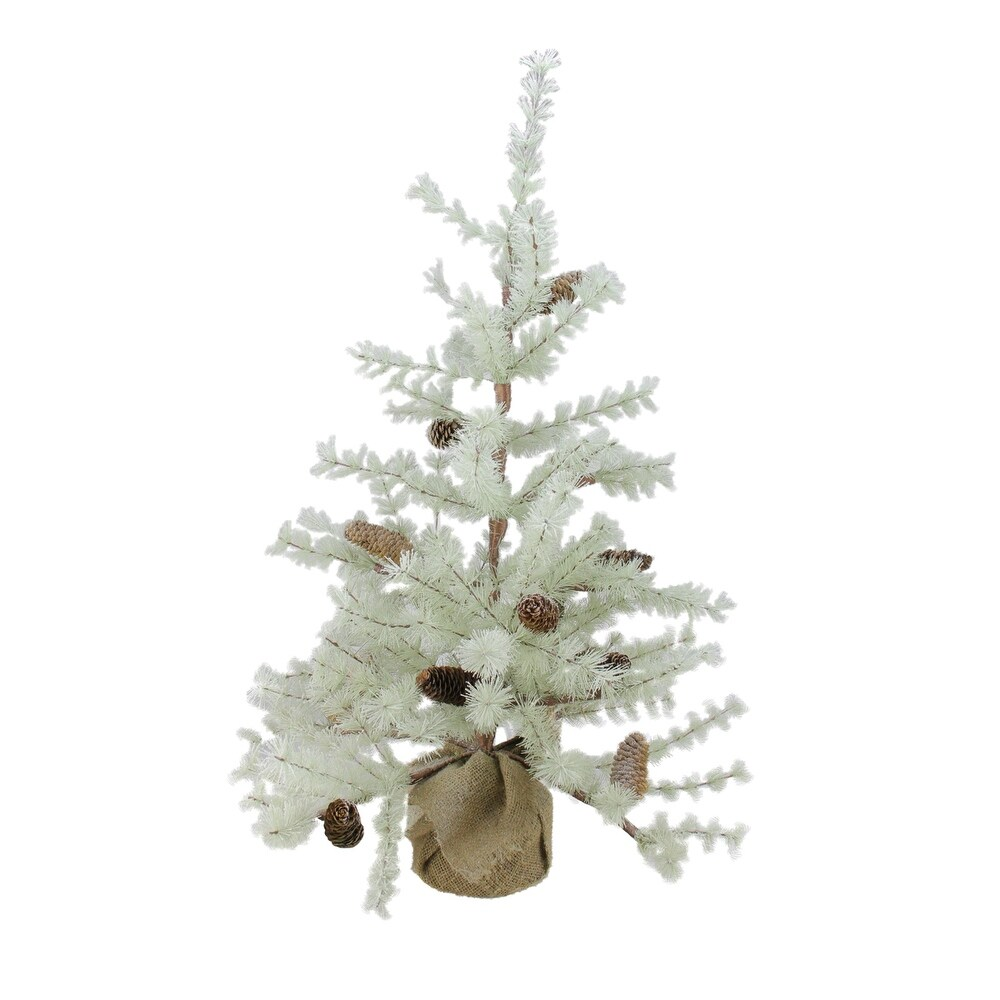 3' Green Frosted Green Pine Artificial Christmas Tree with Burlap Base - Unlit - 3 Foot (Green - Plastic)