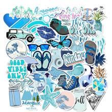 Blue Series Seaside Landscape Sticker 50pcs