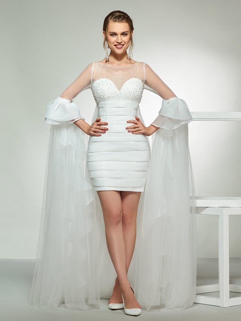 Ericdress Beading Sleeves Short Beach Wedding Dress