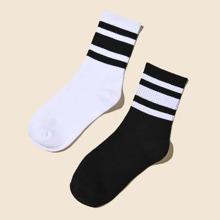 2 Paare Maenner Socken mit Streifen Muster