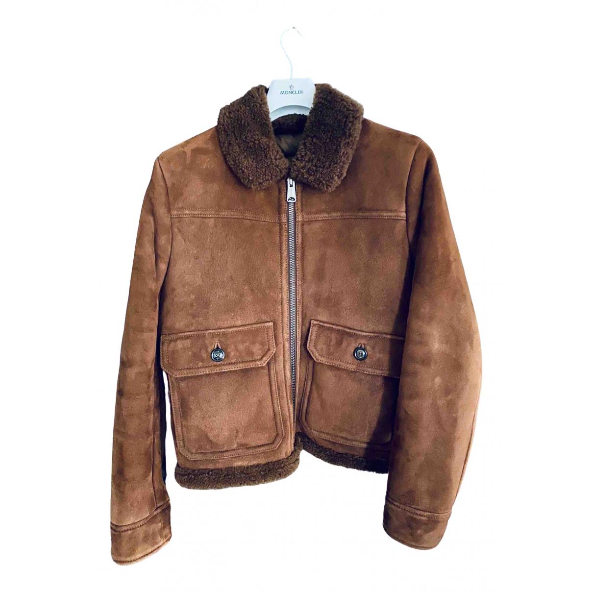 Moncler - Manteau   pour homme en cuir - marron