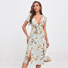 Tie Front Split Thigh Floral Dress