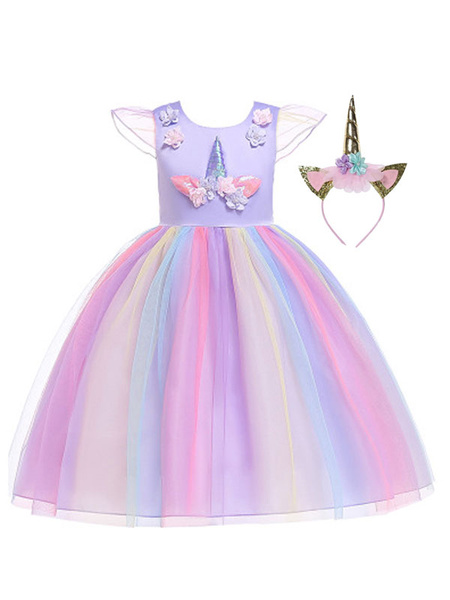 Milanoo Kids Halloween Cosplay Costumes Unicorn Dress With Headwear for Child