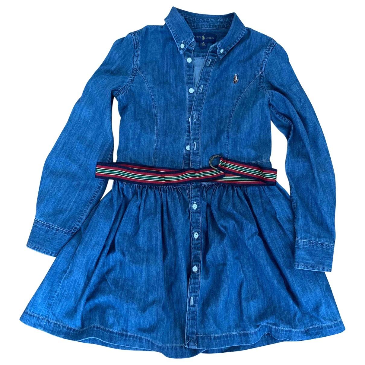 Ralph Lauren - Robe    pour enfant en denim - bleu