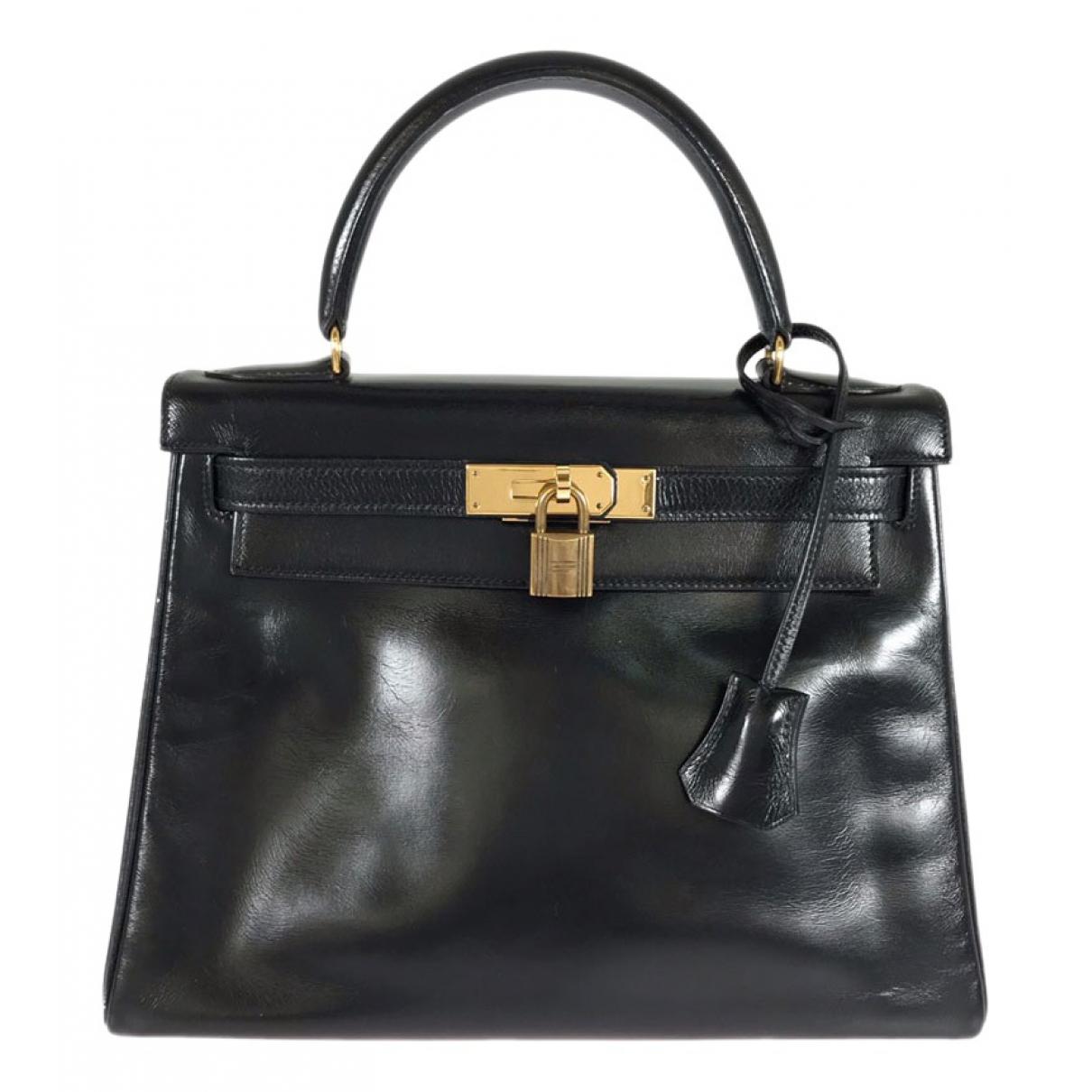 Hermes - Sac a main Kelly 28 pour femme en cuir - noir