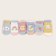 6 pares calcetines de bebe con estampado de dibujos animados