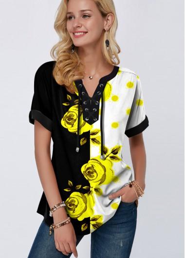 Floral Print Lace Up Color Block Blouse - M
