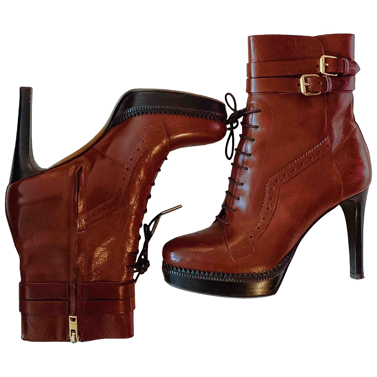 Burberry \N Brown Leather Boots for Women 38 EU